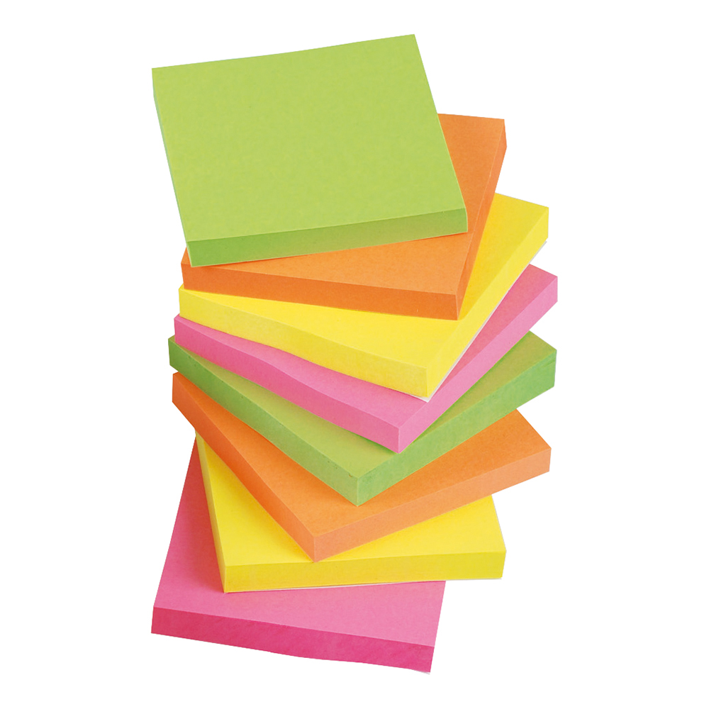 Business Re-Move Notes Repositionable Neon Pad of 100 Sheets 76x76mm Assorted [Pack 12]
