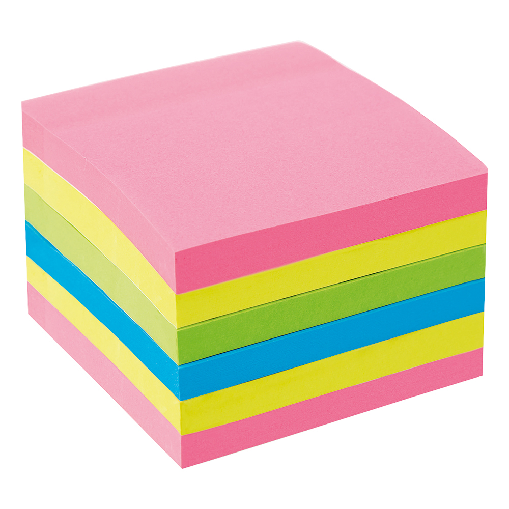 Image for Business Extra Sticky Re-Move Notes Pad of 90 Sheets 76x76mm 4 Assorted Neon Colours [Pack 6]