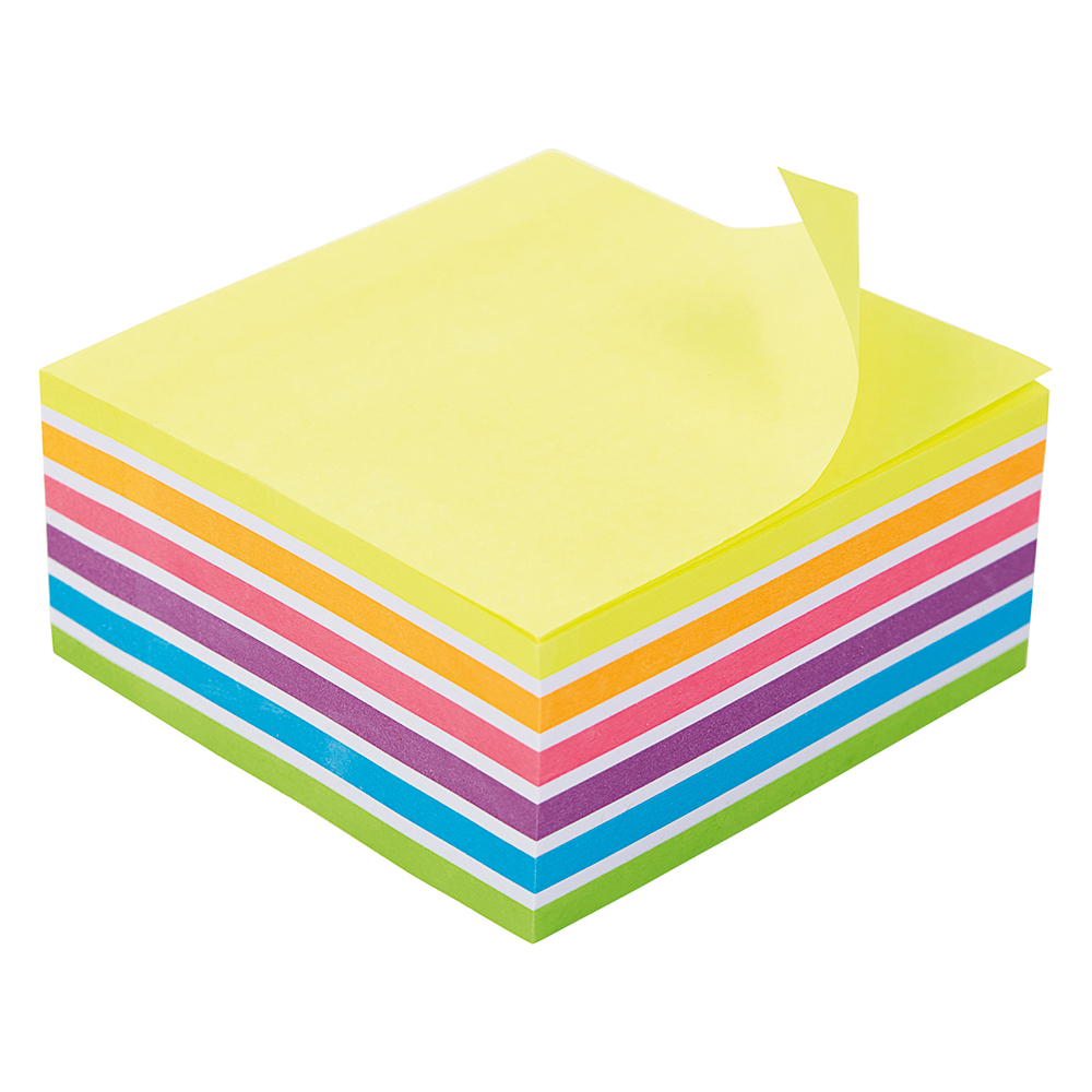 Business Re-Move Sticky Notes Rainbow Cube 76x76mm 6 Bright Colours 400 Sheets
