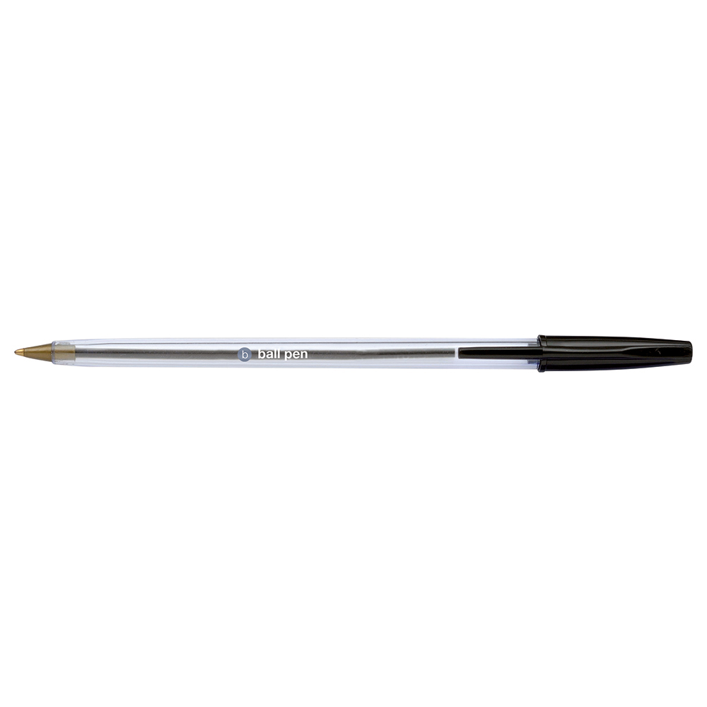 Business Ball Pen Clear Barrel 1.0mm Tip 0.4mm Line Black [Pack 50]