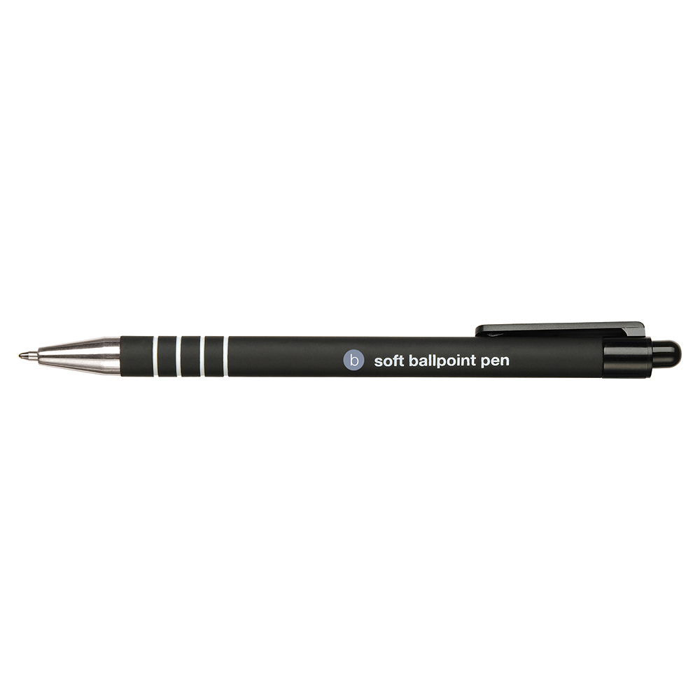 Business Retractable Ball Pen Soft Grip 1.0mm Tip 0.5mm Line Black [Pack 12]
