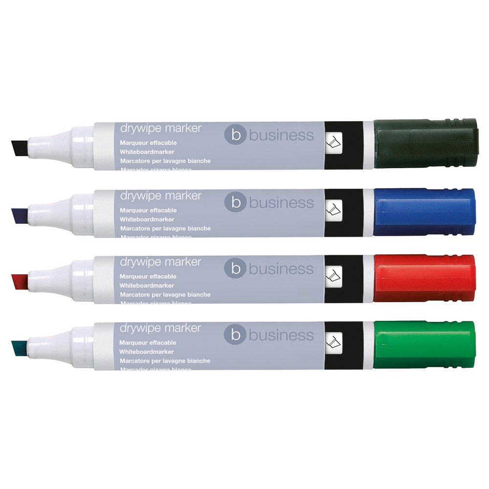 Business Drywipe Marker Xylene/Toluene-free Chisel Tip 2-5mm Line Assorted [Wallet 6]