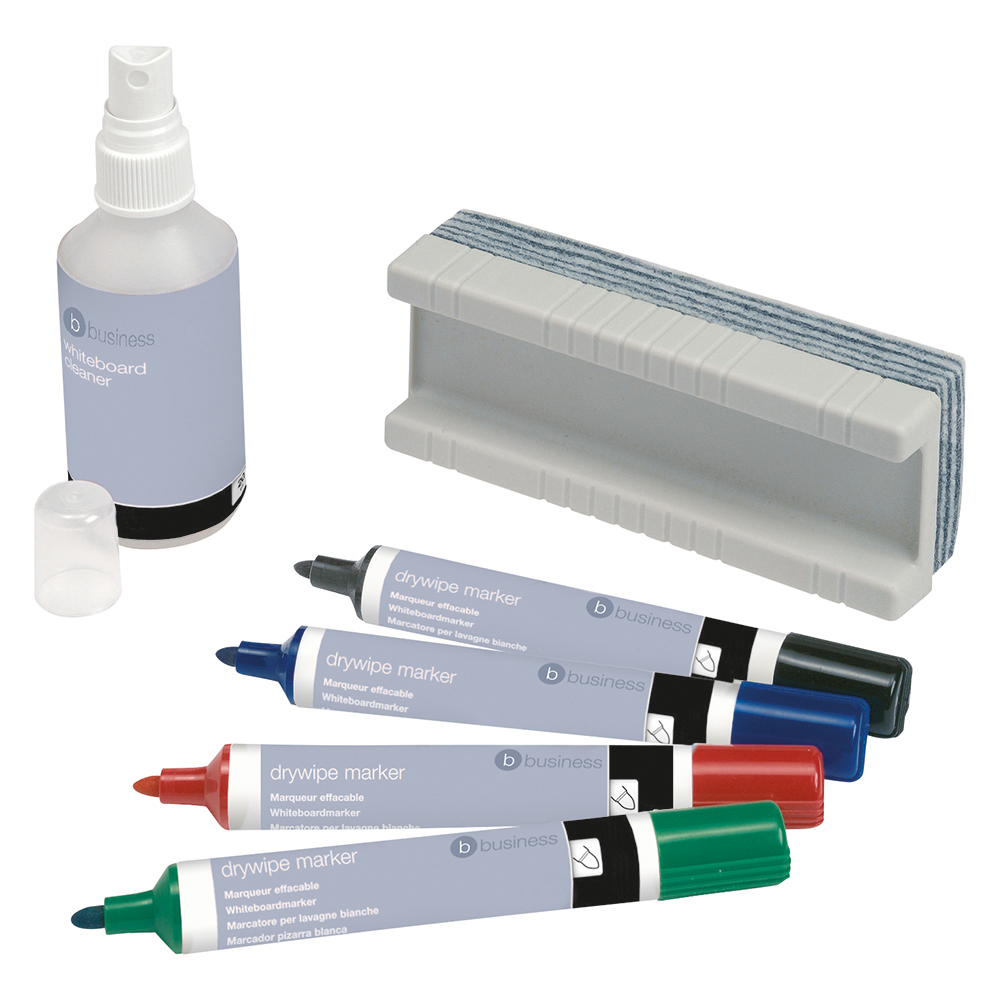 Business Drywipe Starter Kit of Drywipe Eraser and 125ml Cleaner and 4 Whiteboard Markers Assorted