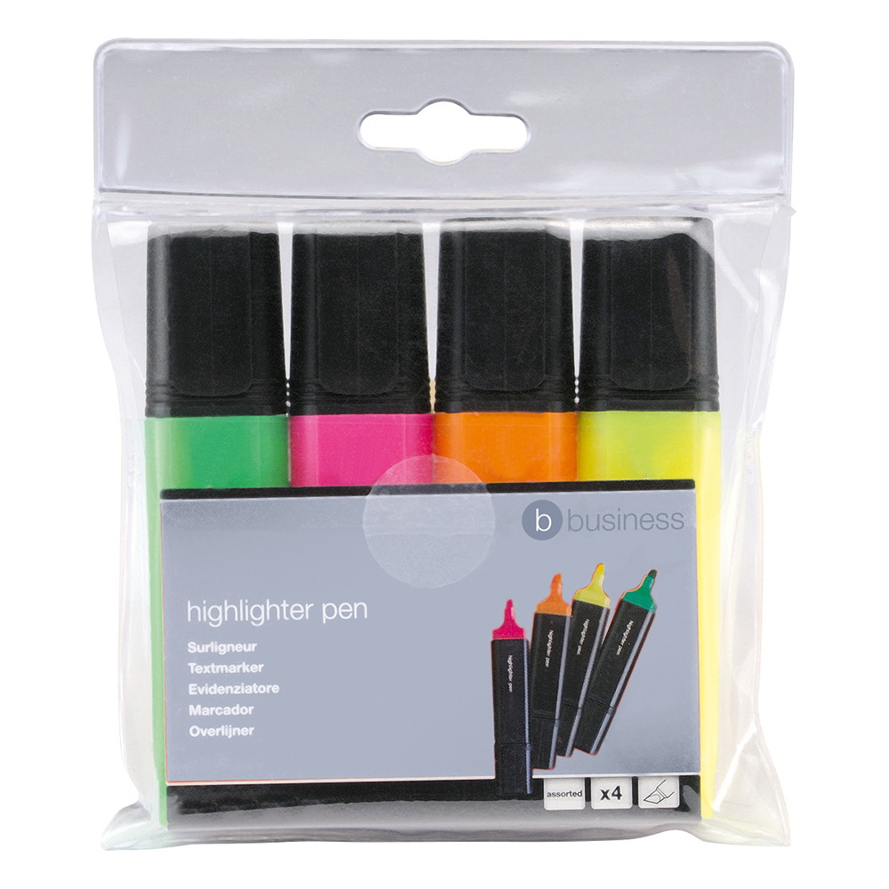 Business Highlighters Chisel Tip 1-5mm Line Assorted [Wallet 4]