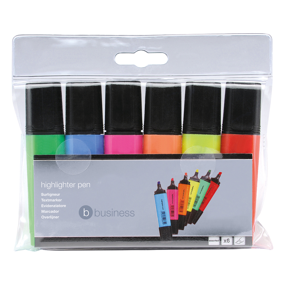 Business Highlighters Chisel Tip 1-5mm Line Assorted [Wallet 6]