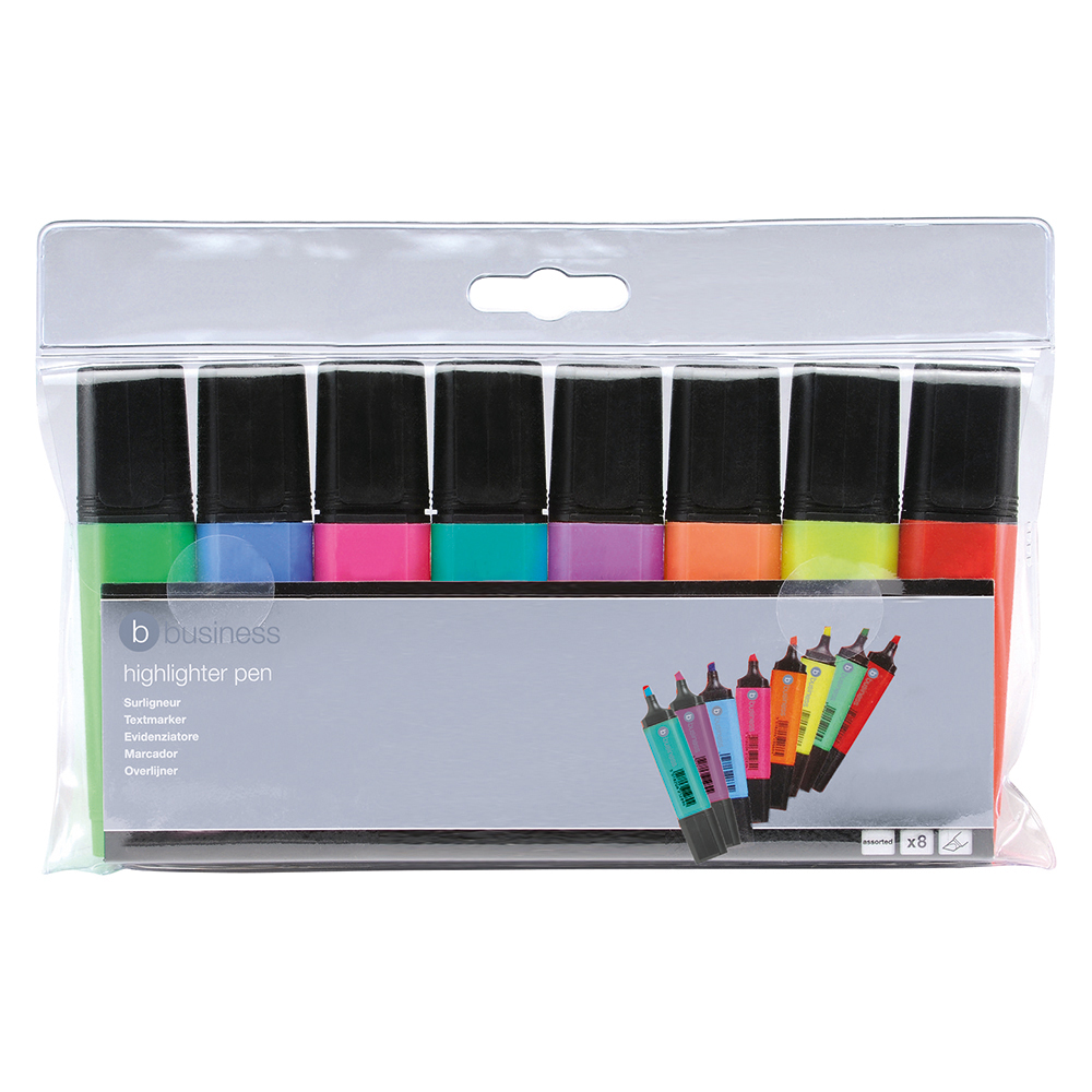 Business Highlighters Chisel Tip 1-5mm Line Assorted [Wallet 8]