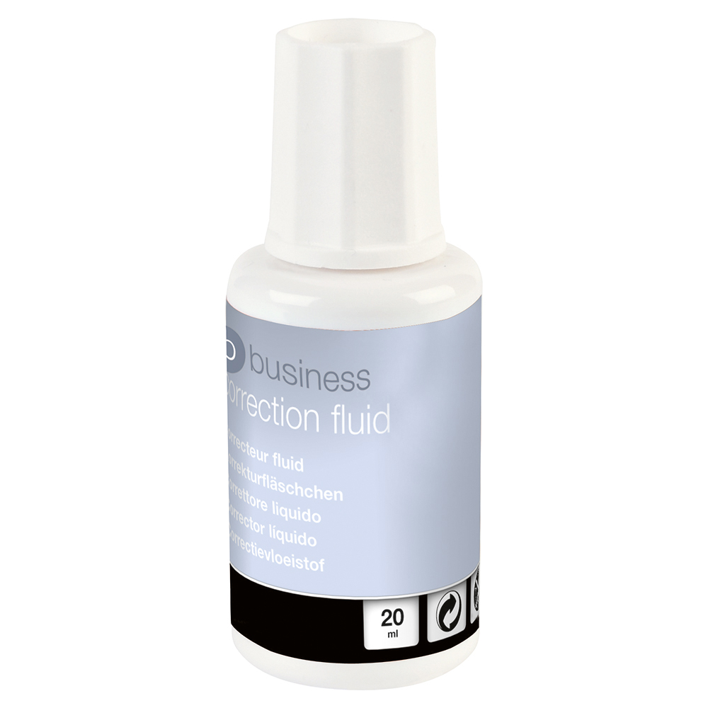 Business Correction Fluid Fast-drying with Integral Mixer Ball 20ml White [Pack 10]