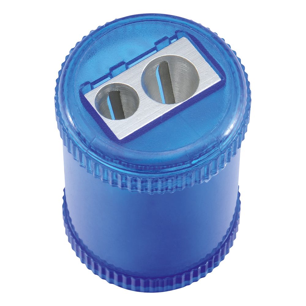 Business Pencil Sharpener Plastic Canister Max. Diameter 8mm Double Hole Coloured