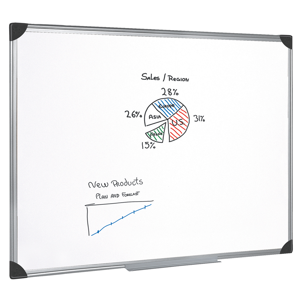 Business Whiteboard Drywipe Magnetic with Pen Tray and Aluminium Trim W900xH600mm