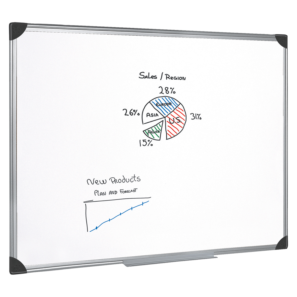 Business Whiteboard Drywipe Magnetic with Pen Tray and Aluminium Trim W1200xH900mm