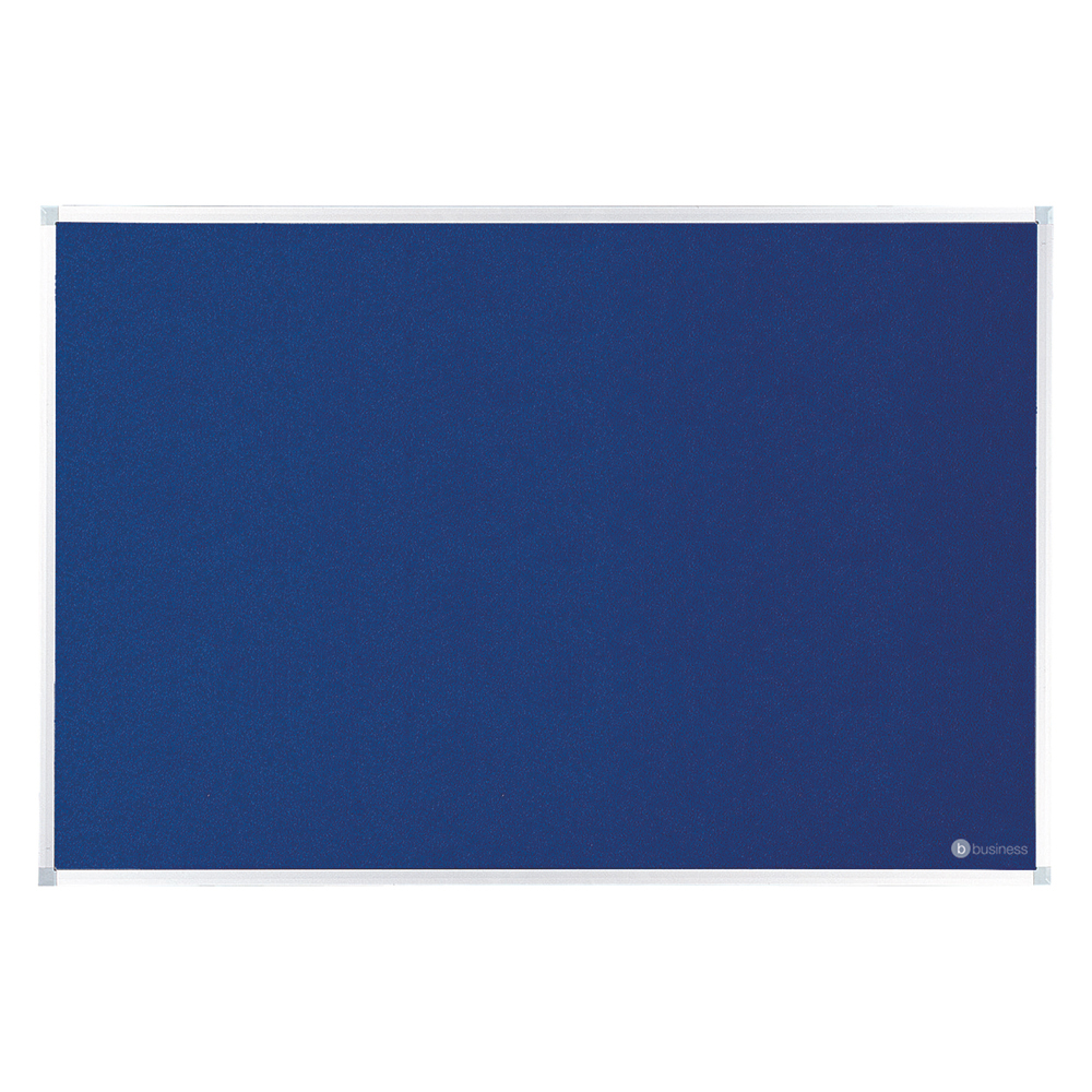 Business Felt Noticeboard with Fixings and Aluminium Trim W1200x900mm Blue