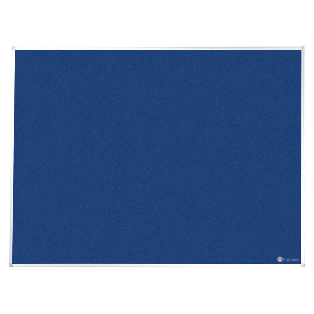 Business Felt Noticeboard with Fixings and Aluminium Trim W1800xH1200mm Blue