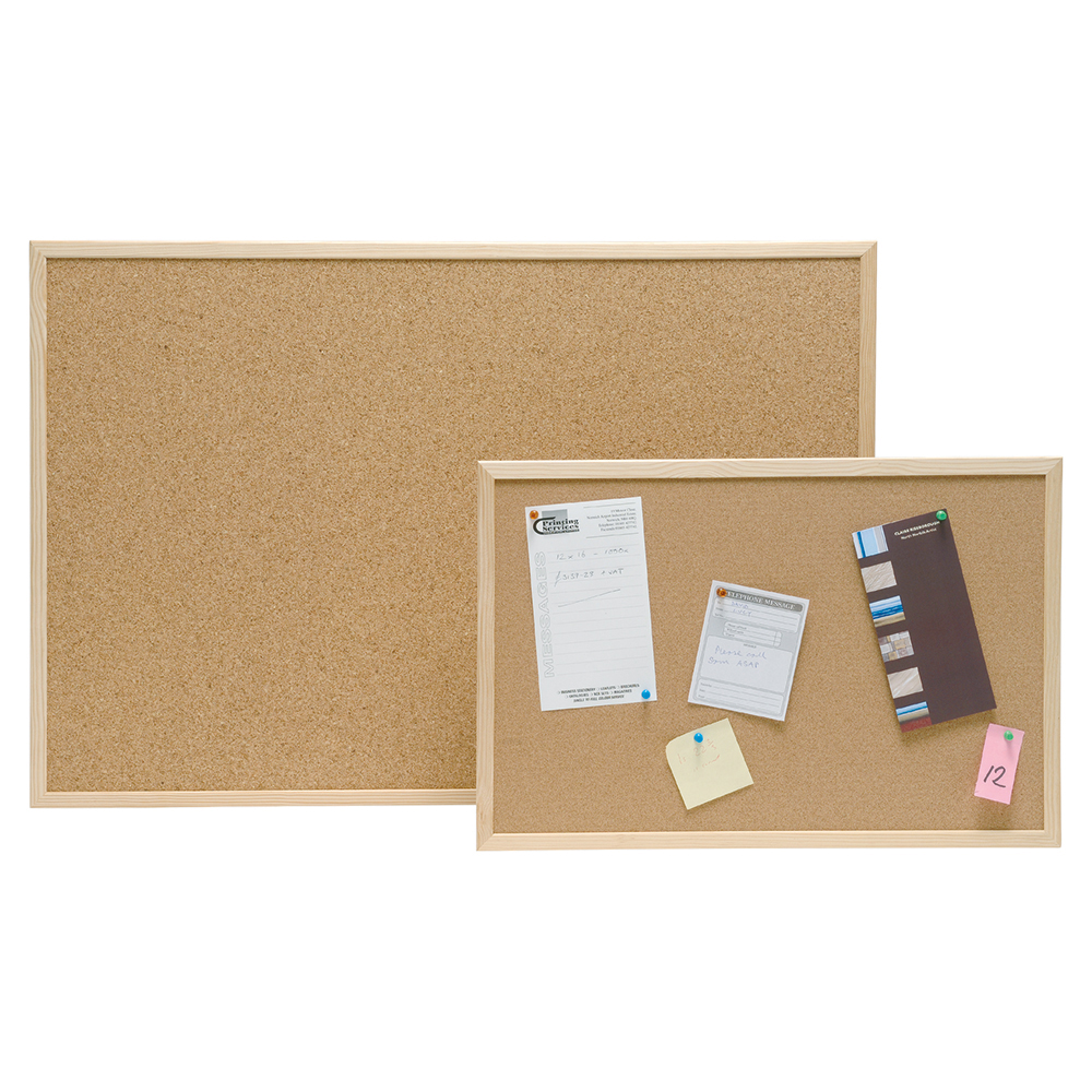 Business Eco Noticeboard Cork with Pine Frame W600xH400mm
