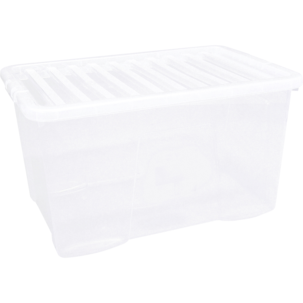 Business Storage Box Plastic with Lid Stackable 60 Litre Clear