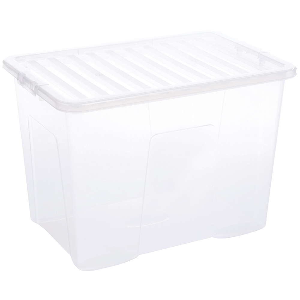 Business Storage Box Plastic with Lid Stackable 80 Litre Clear