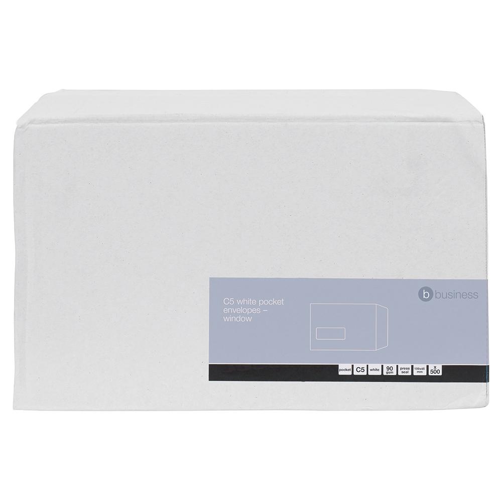 Image for Business Envelopes Pocket Self Seal Window 90gsm White C5 [Pack 500]