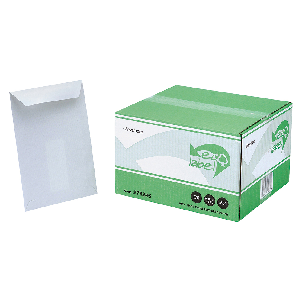 Image for Business Eco Envelopes Recycled Pocket Self Seal 90gsm White C5 [Pack 500]