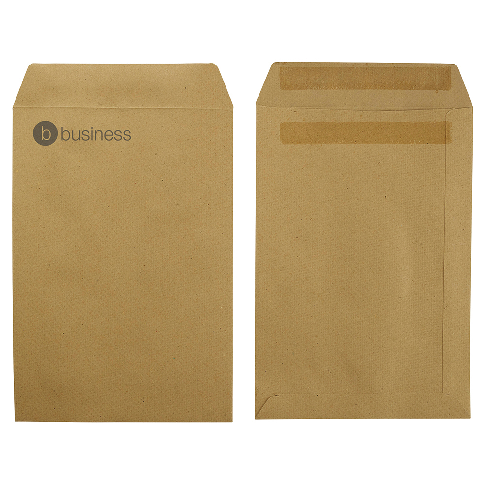 Image for Business Envelopes Recycled Pocket Self Seal 115gsm Manilla 254x178mm [Pack 250]