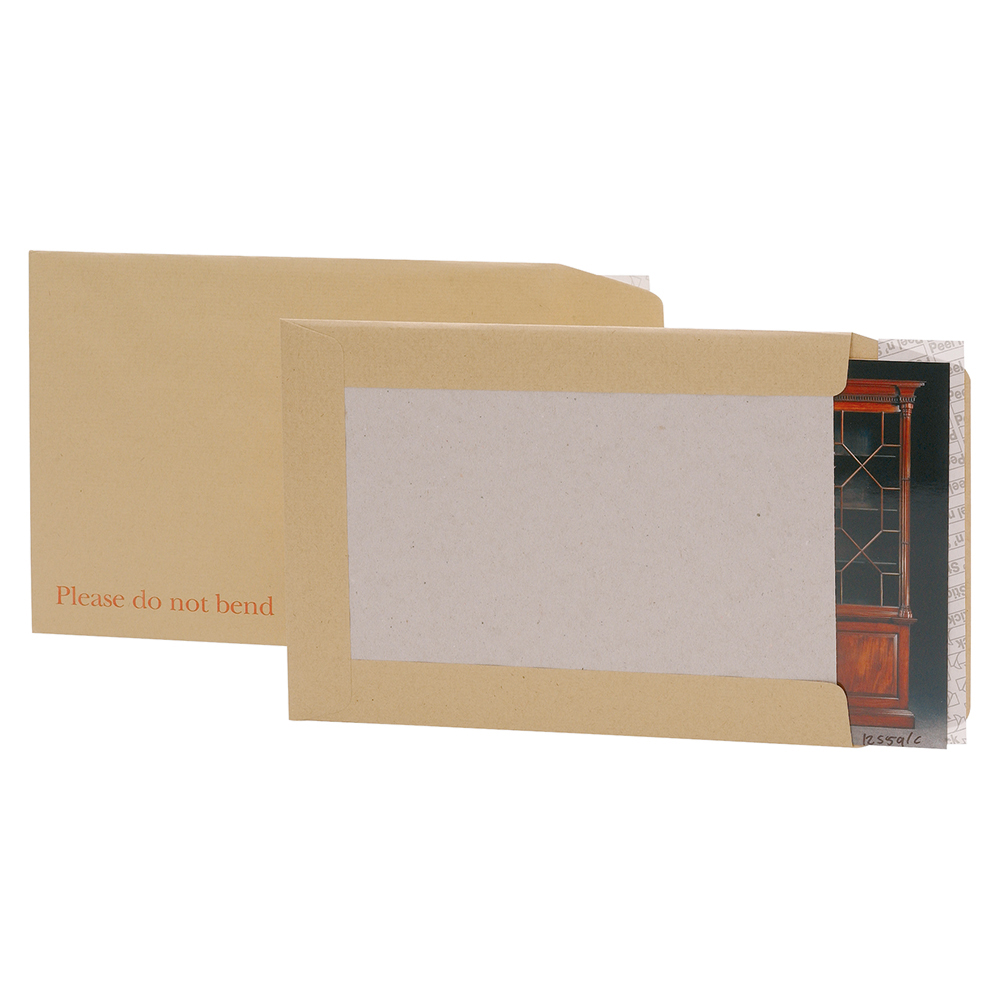 Business Envelopes Recycled Board-backed Hot Melt Peel and Seal 120gsm Manilla 241x178mm [Pack 125]
