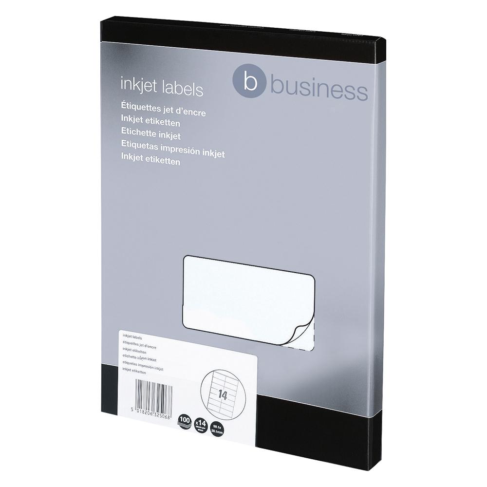 Image for Business Addressing Labels Inkjet 14 per Sheet 99.1x38.1mm White [1400 Labels]