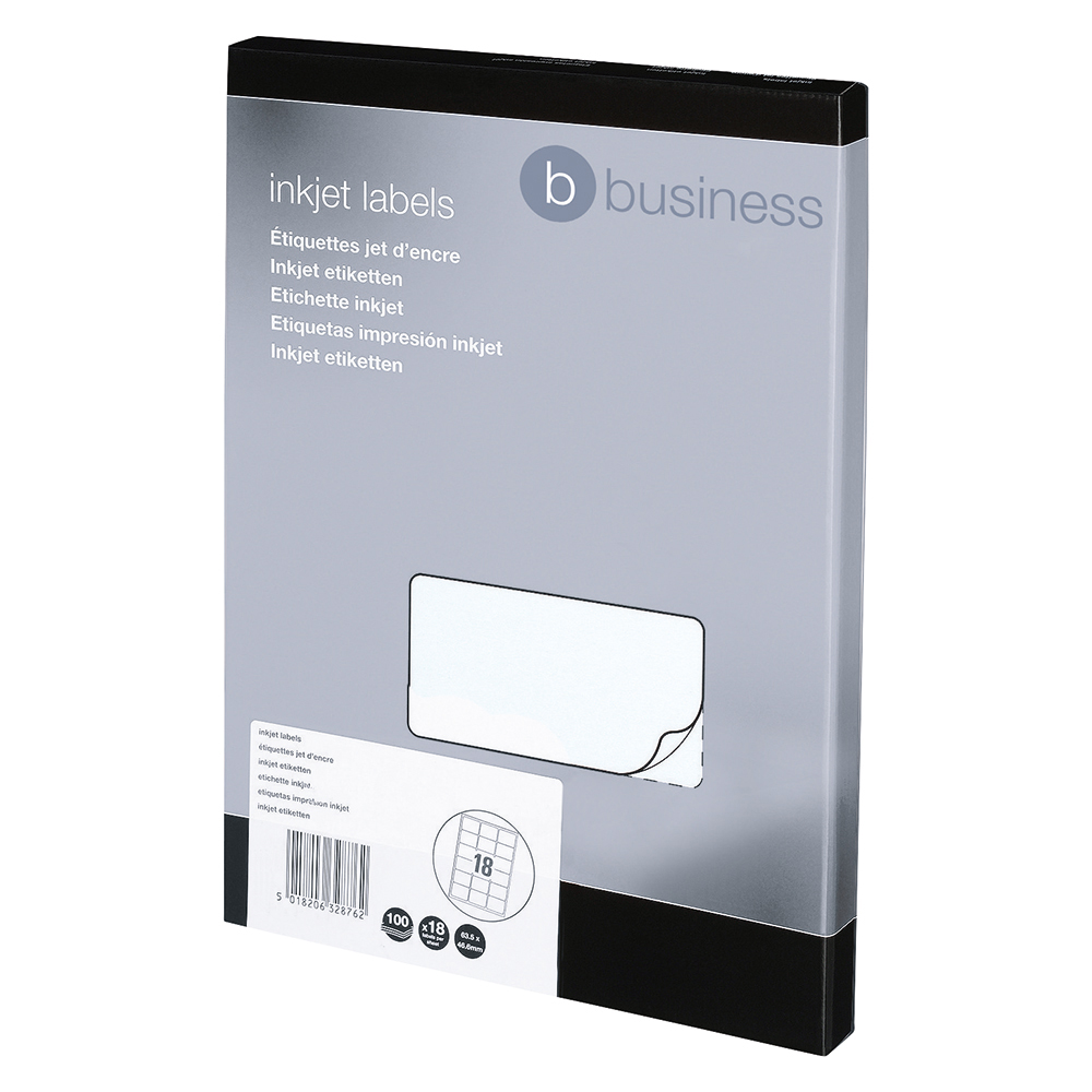 Image for Business Addressing Labels Inkjet 18 per Sheet 63.5x46.6mm White [1800 Labels]