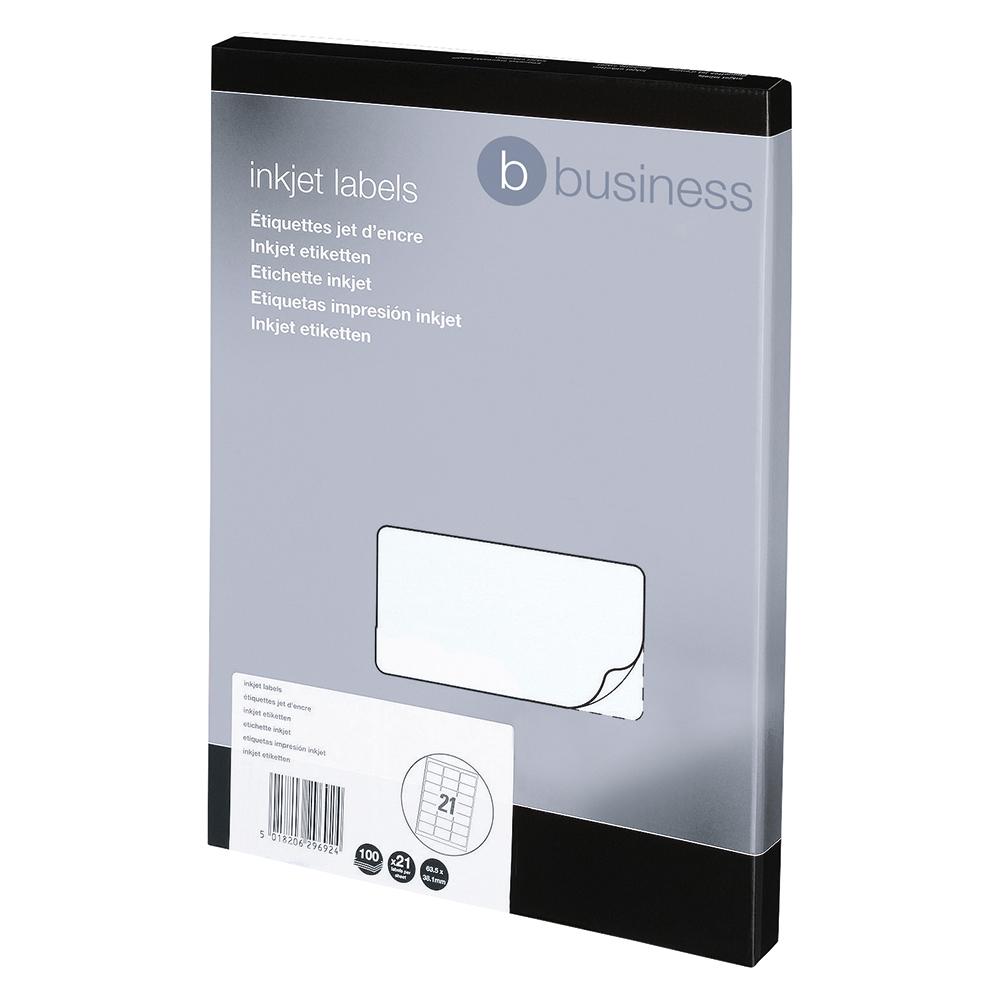 Image for Business Addressing Labels Inkjet 21 per Sheet 63.5x38.1mm White [2100 Labels]
