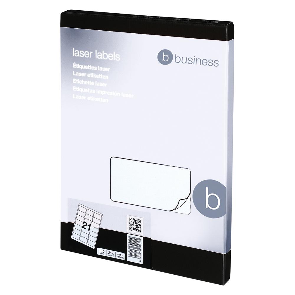 Image for Business Multipurpose Labels Laser 21 per Sheet 63.5x38.1mm White [2100 Labels]