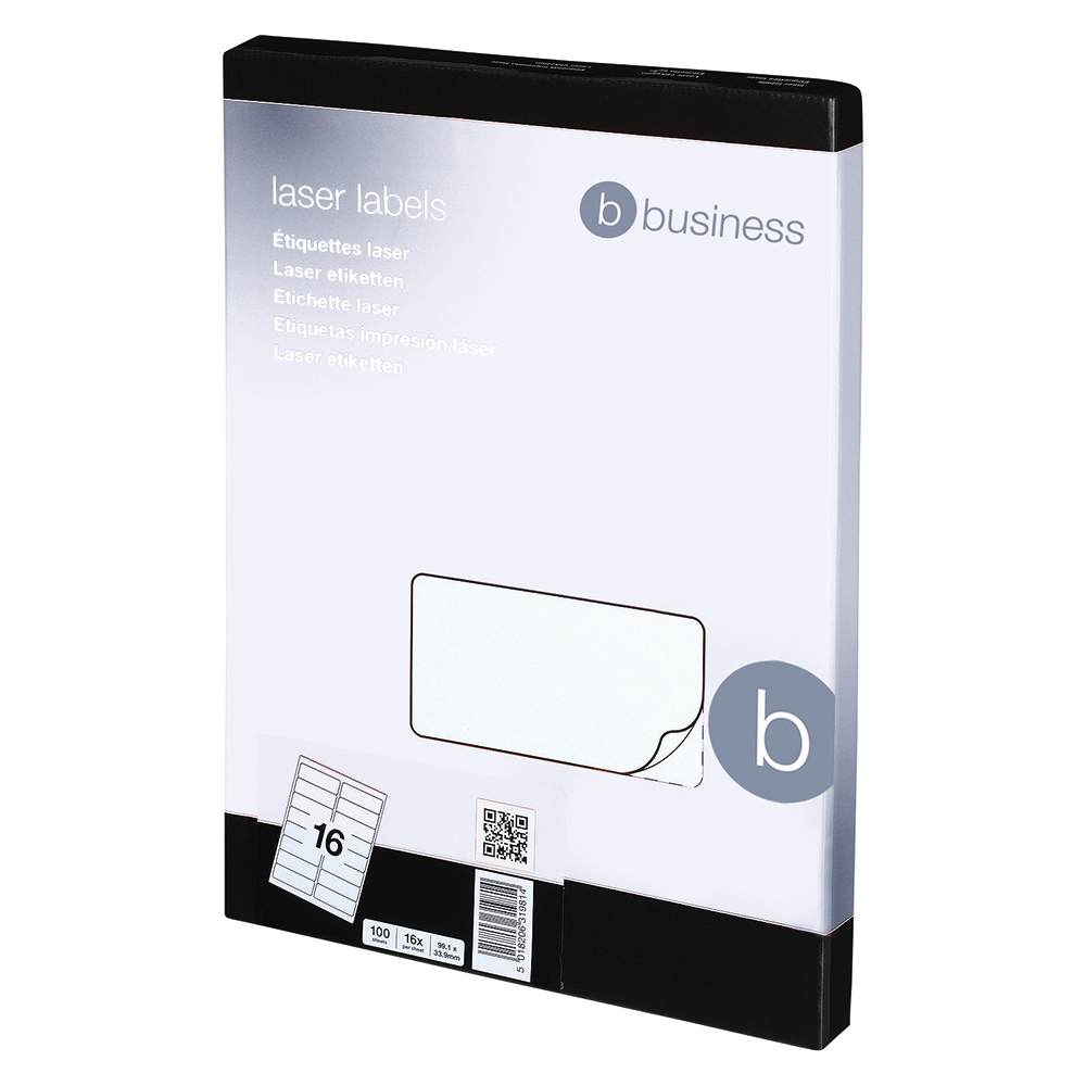 Image for Business Multipurpose Labels Laser 16 per Sheet 99.1x34mm White [1600 Labels]