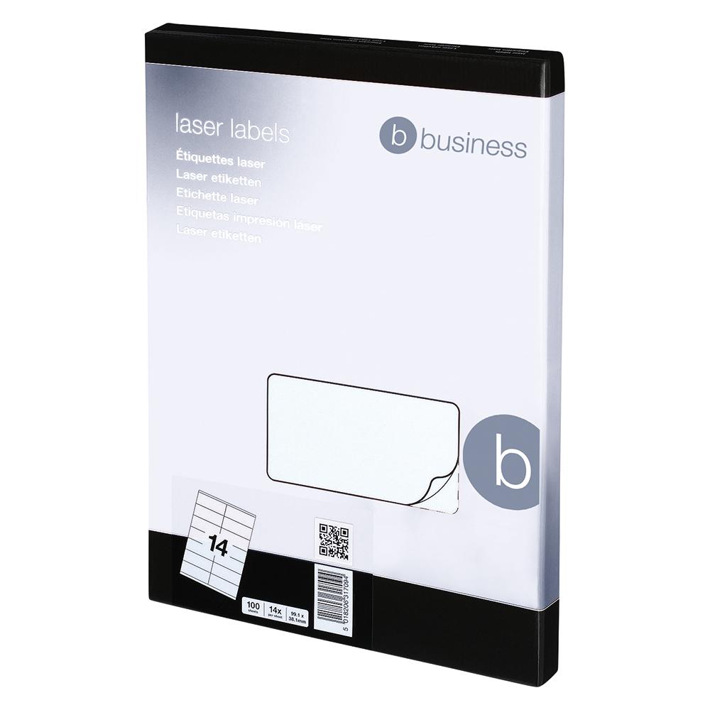 Image for Business Multipurpose Labels Laser 14 per Sheet 99.1x38.1mm White [1400 Labels]