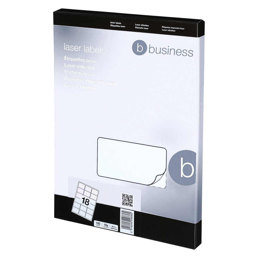 Image for Business Multipurpose Labels Laser 18 per Sheet 63.5x46.6mm White [1800 Labels]
