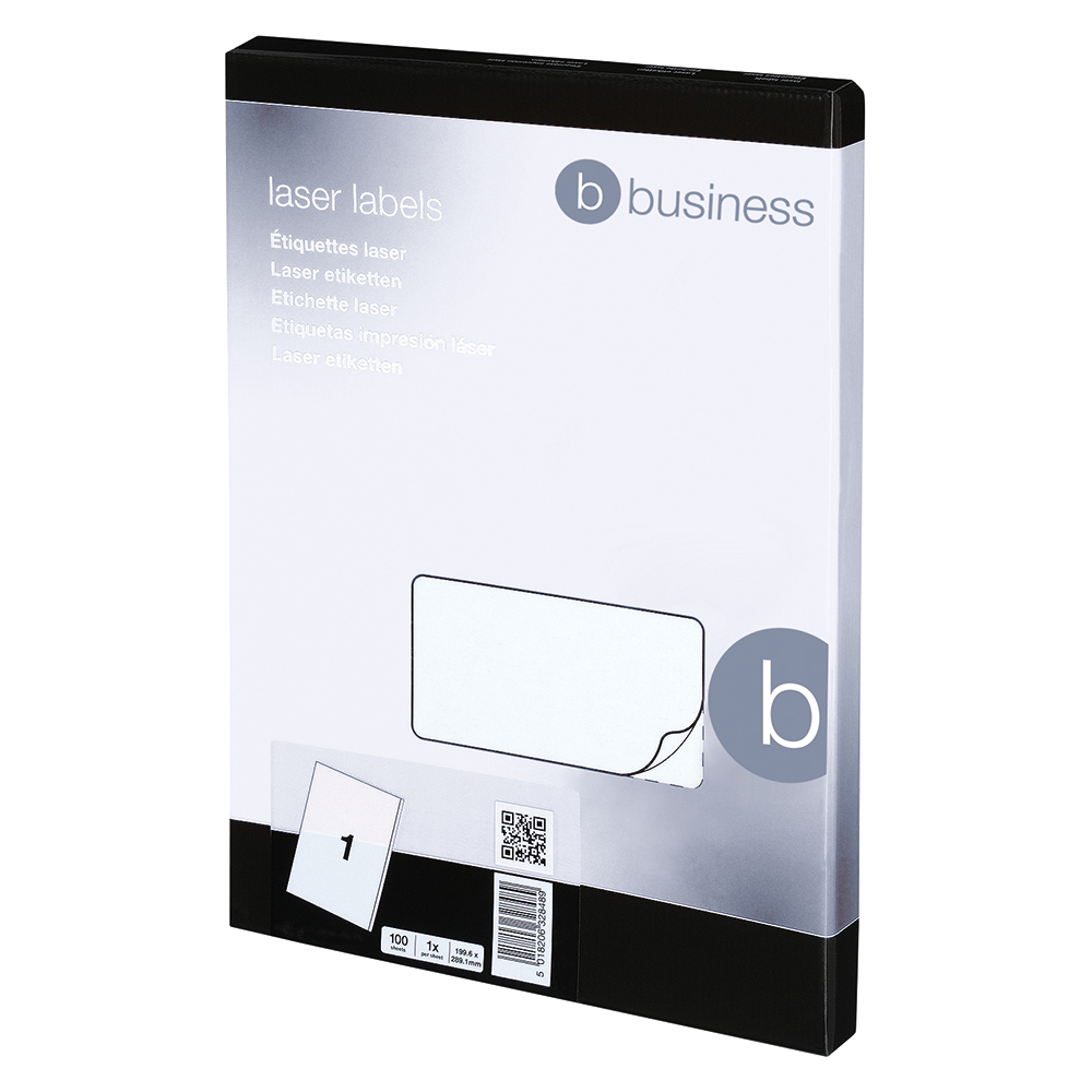 Image for Business Multipurpose Labels Laser 1 per Sheet 199.6x289.1mm White [100 Labels]