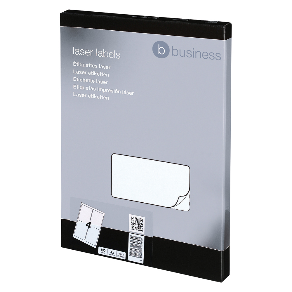 Image for Business Multipurpose Labels Laser 4 per Sheet 139x99.1mm White [400 Labels]