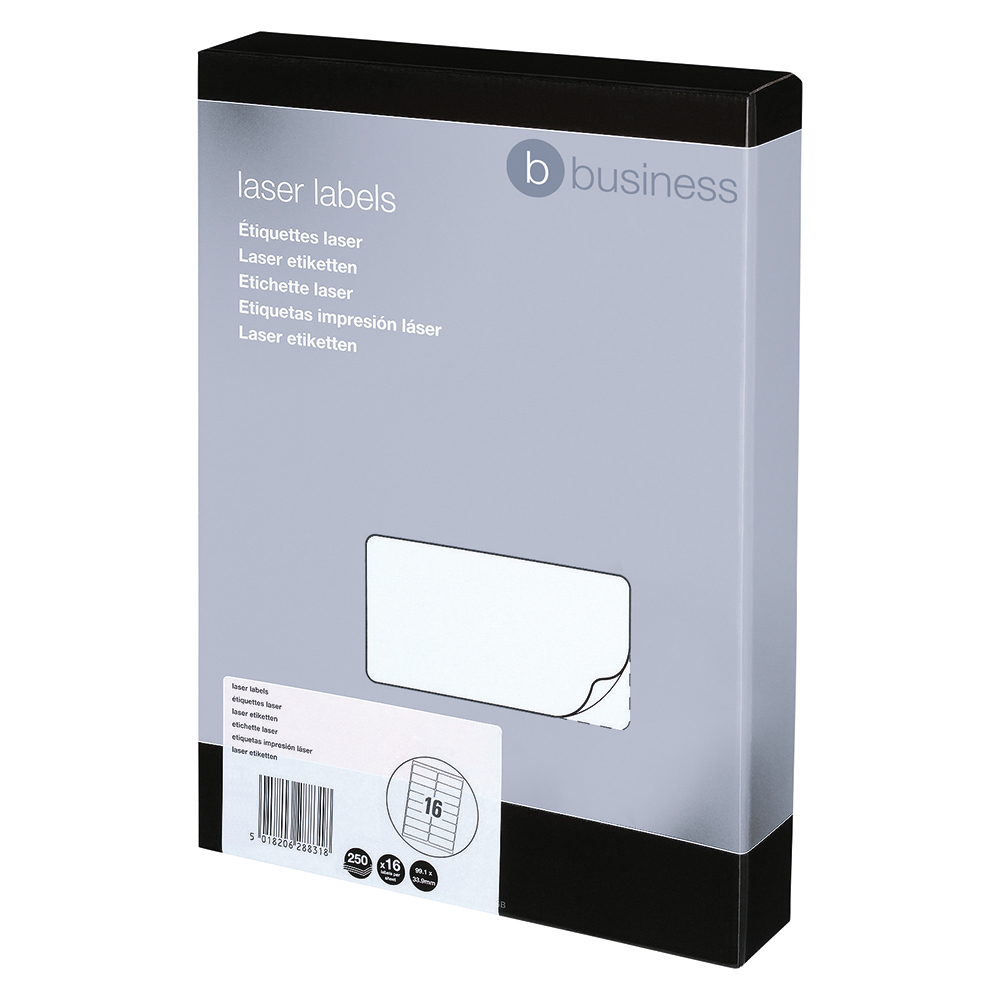 Image for Business Multipurpose Labels Laser 16 per Sheet 99.1x34mm White [4000 Labels]