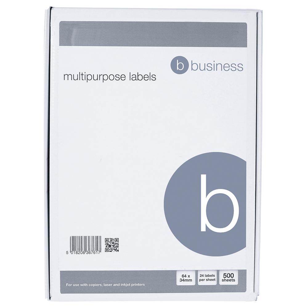 Image for Business Multipurpose Labels Laser Copier Inkjet 24 per Sheet 64x34mm White 12000 Labels [Pack 500]