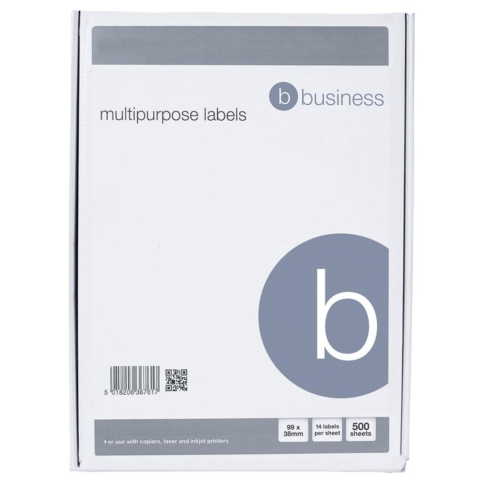 Image for Business Multipurpose Labels Laser Copier Inkjet 14 per Sheet 99x38mm White 7000 Labels [Pack 500]