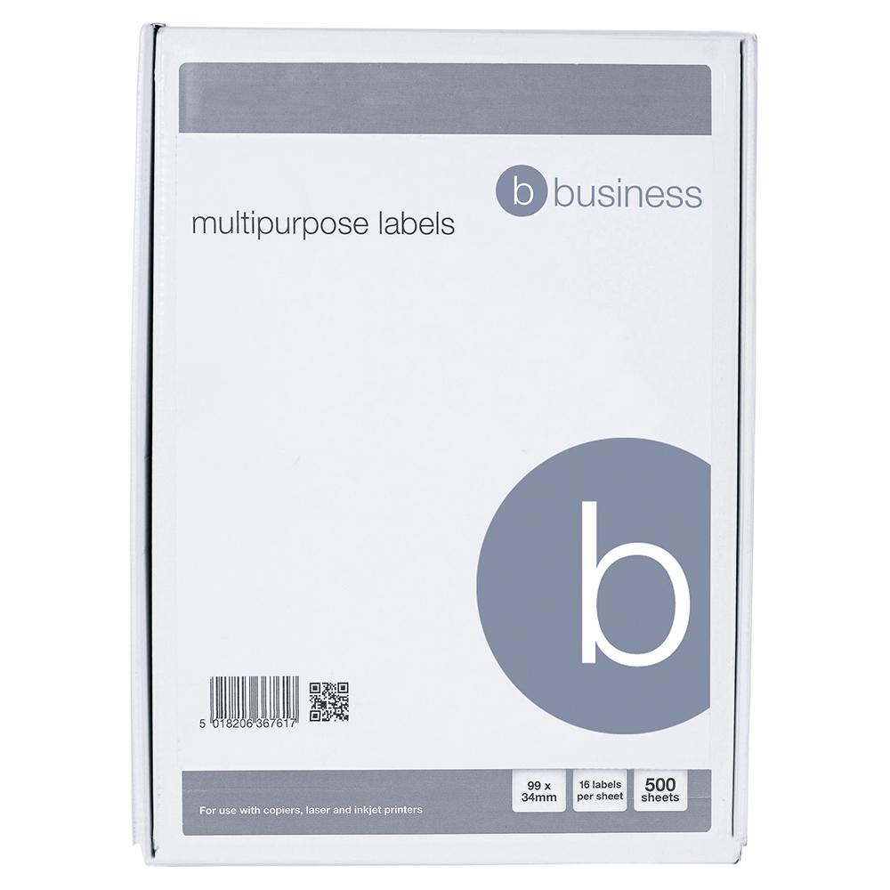 Business Multipurpose Labels Laser Copier Inkjet 16 per Sheet 99x34mm White 8000 Labels [Pack 500]