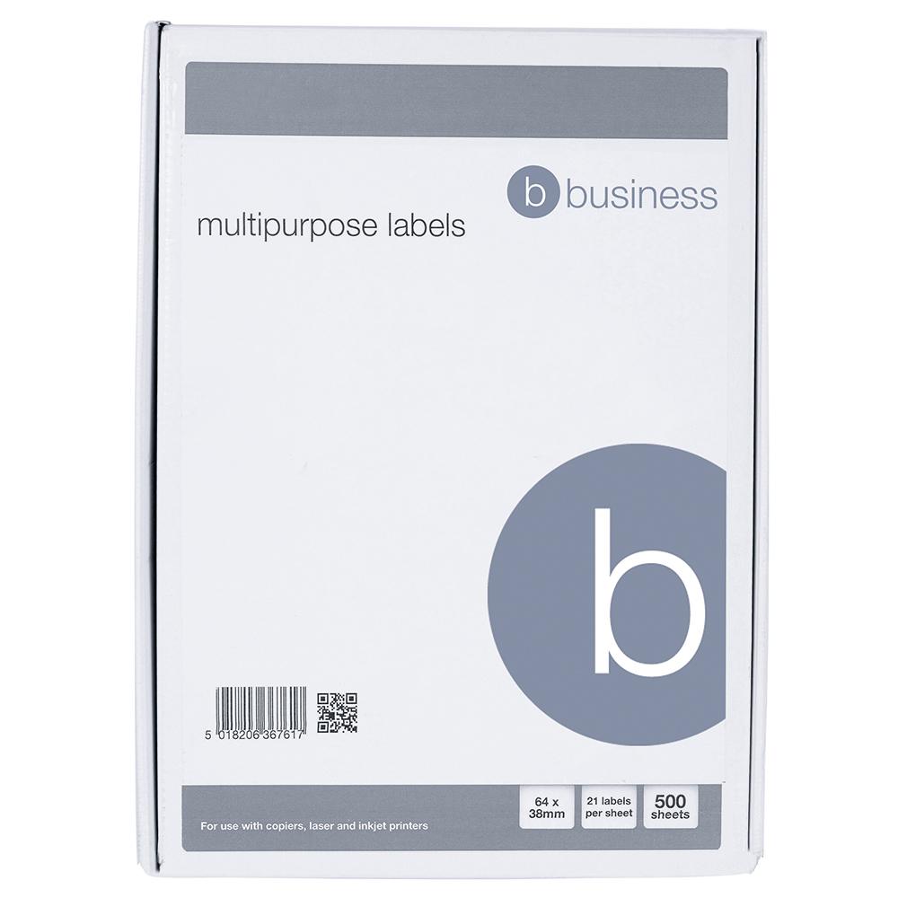 Business Multipurpose Labels Laser Copier Inkjet 21 per Sheet 64x34mm White 10500 Labels [Pack 500]
