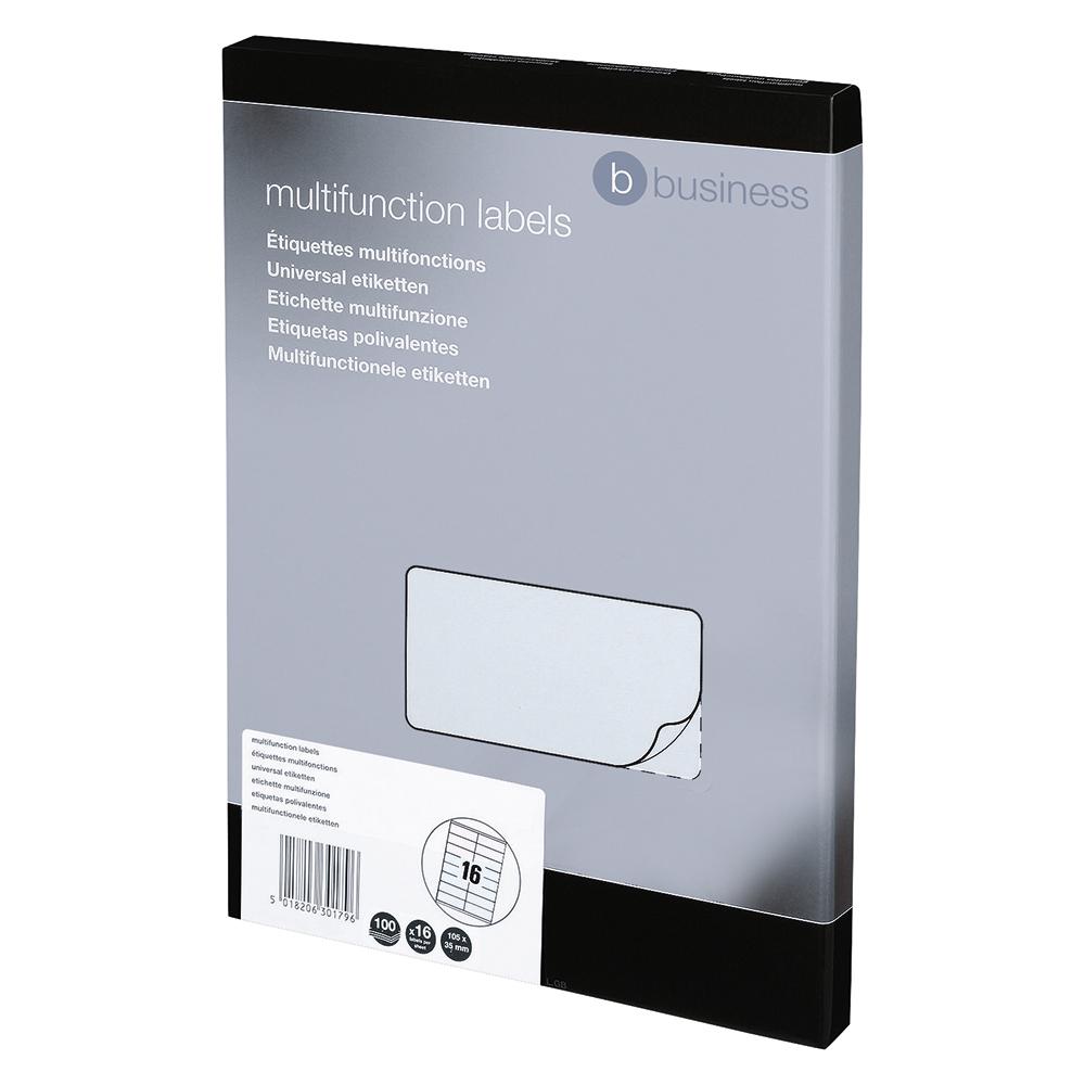 Image for Business Multipurpose Labels Laser 16 per Sheet 105x35mm White [1600 Labels]