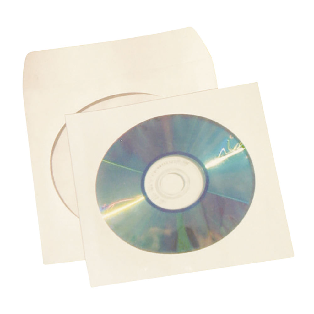 Business CD / DVD / Blue-Ray Disc Envelope Sleeve with Window White [Pack 50]