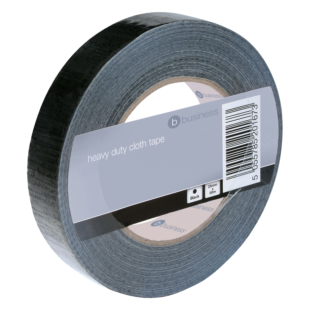 Image for Business Cloth Tape Heavy-duty Waterproof Tearable Multisurface Roll 25mm x 50m Black