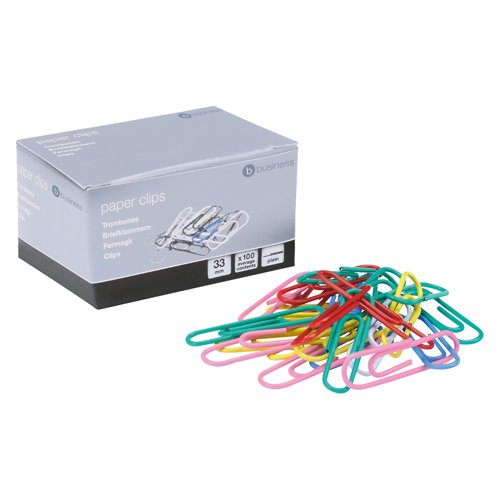 Business Paperclips Metal Large 33mm Assorted Colours [Pack 10x100]