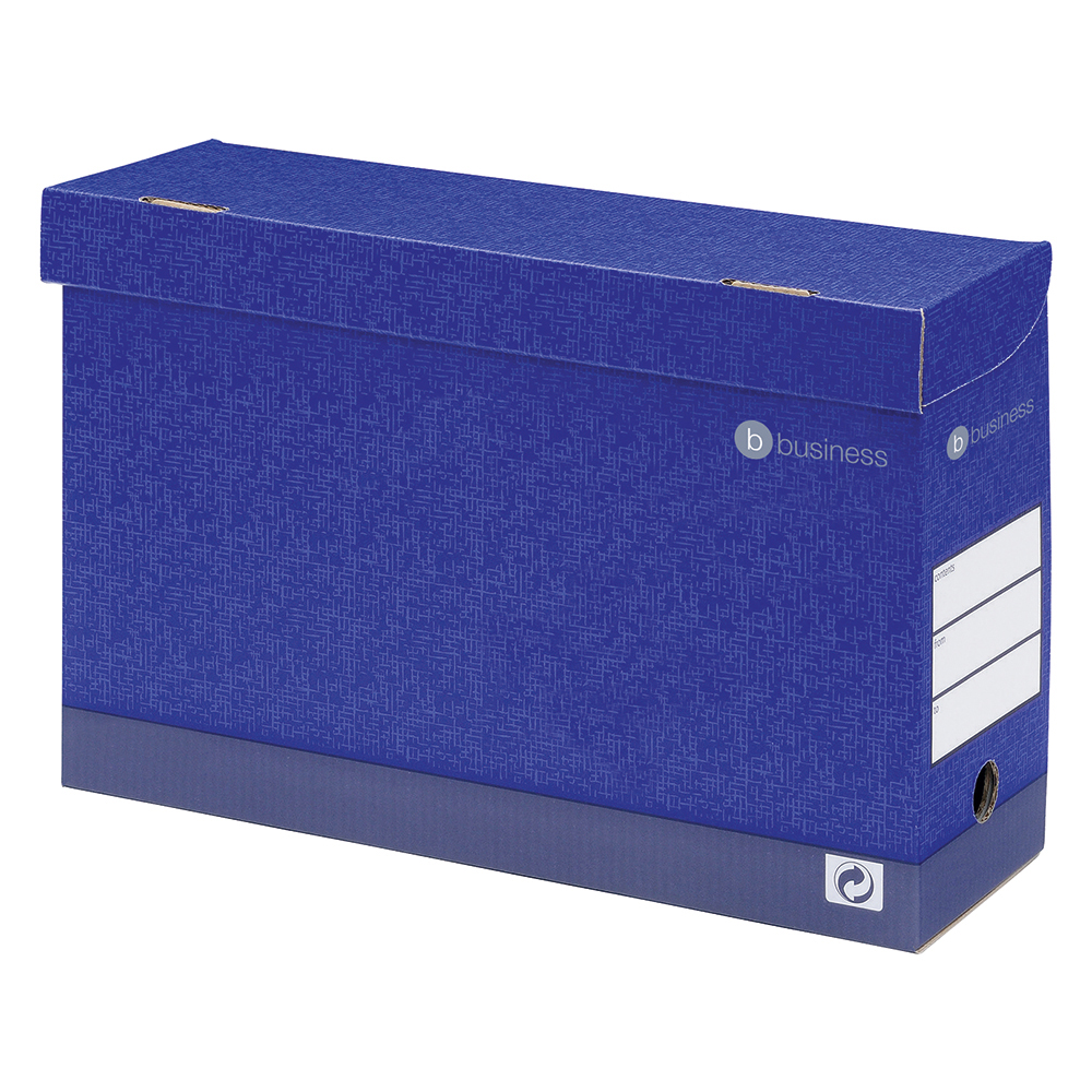 Image for Business Premium Transfer Case Hinged Lid Foolscap Blue [Pack 10]