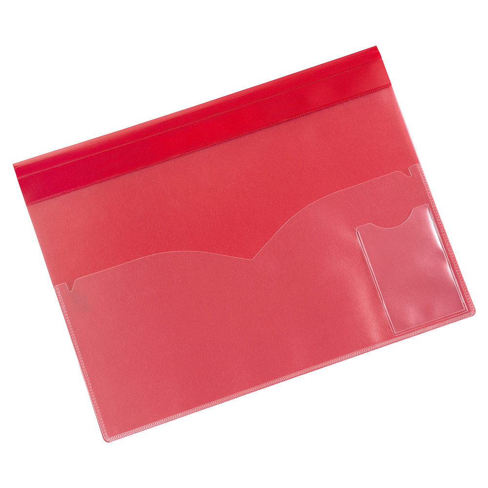 Image for Business Document Folder Task File Semi-rigid Clear Pocket Front Cover A4 Red [Pack 5]