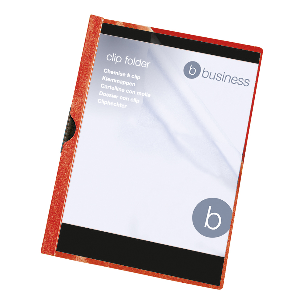 Image for Business Clip Folder 3mm Spine for 30 Sheets A4 Red [Pack 25]