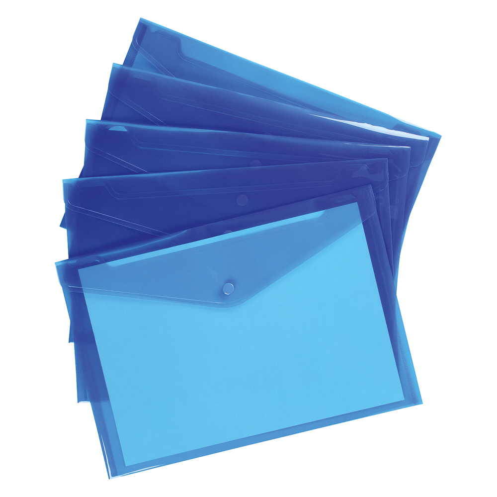 Business Envelope Stud Wallet Polypropylene A4 Translucent Blue [Pack 5]