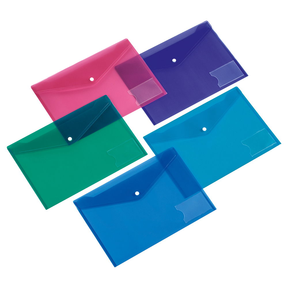 Image for Business Envelope Stud Wallet with Card Holder Polypropylene A4 Assorted [Pack 5]