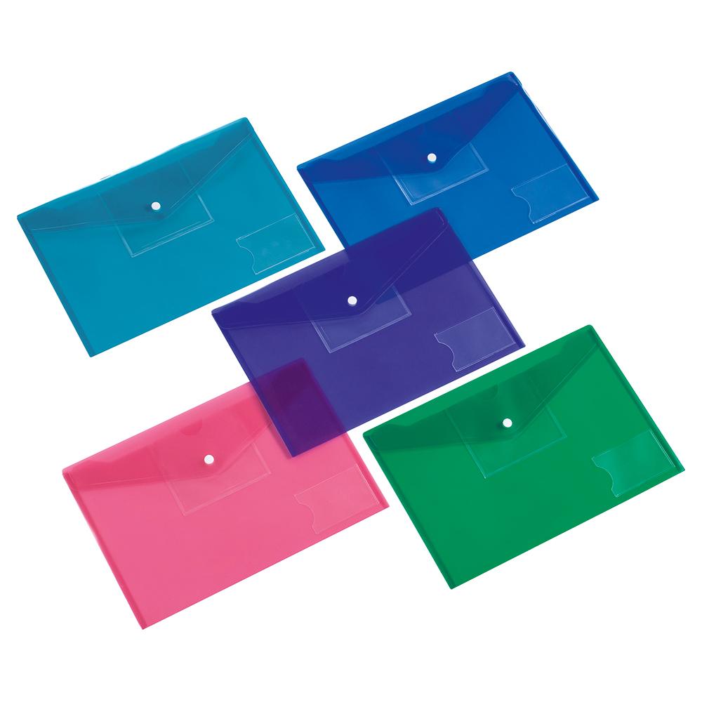 Business Envelope Stud Wallet Large Front Pocket Polypropylene A4 Assorted [Pack 5]