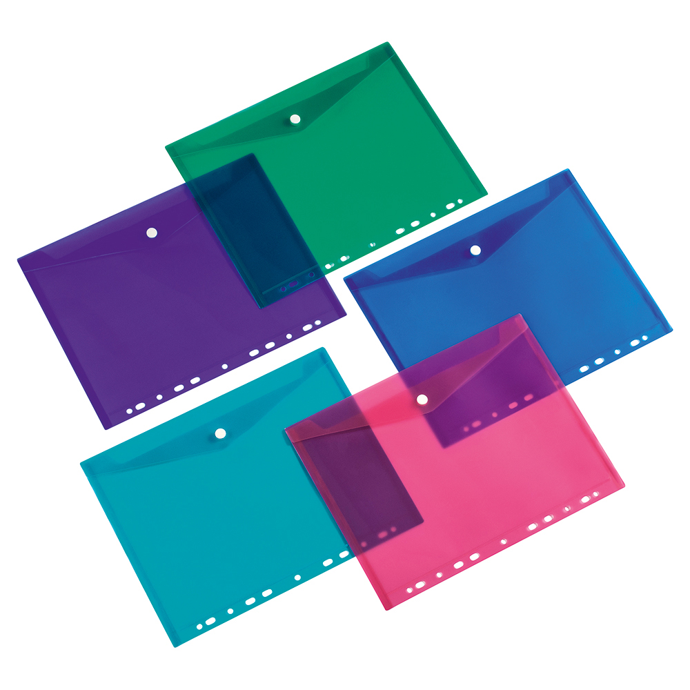 Image for Business Punched Filing Pockets Assorted [Pack 5]