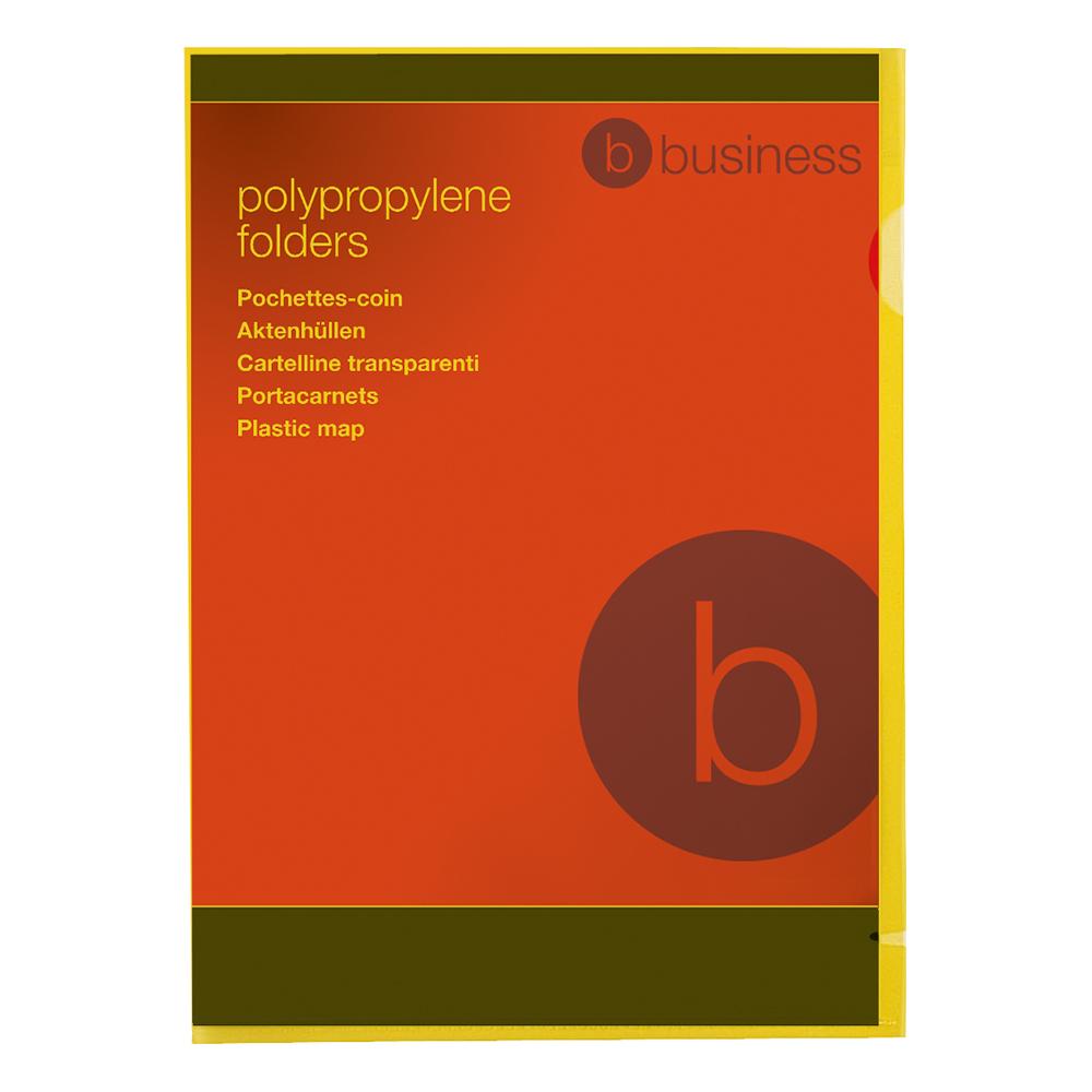 Image for Business Folder Cut Flush Polypropylene Copy-safe Translucent 120 Micron A4 Yellow [Pack 25]