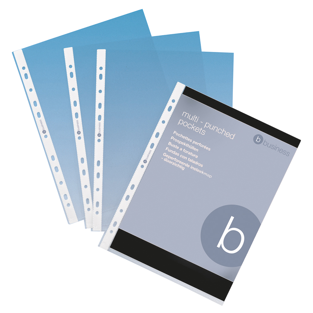 Business Punched Pocket Polypropylene Blue Strip Top-opening 80 Micron A4 Clear [Pack 100]